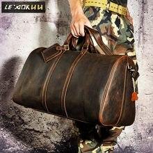 dad77705d9 Crazy horse Original cuir homme grande capacité Designer Duffle sac de voyage  sac à main hommes mode valise voyage bagage sac 32.