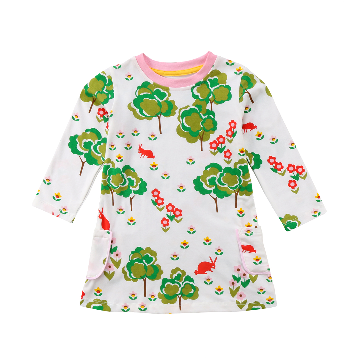 Kids Baby Girl Clothing Floral Party Prom Pageant Long Sleeve Cotton Mini Cute Dress With Dual Pocket Clothes Girls cute long sleeve parrot print girl s mini dress