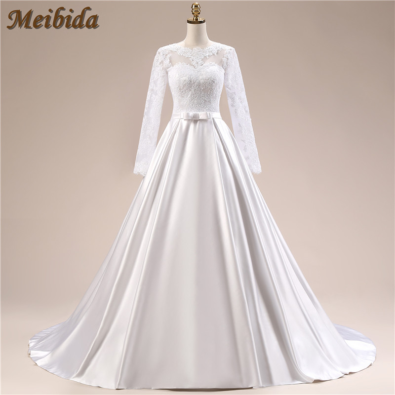 Buy ball gown simple long sleeve wedding for Lace sleeve backless wedding dress