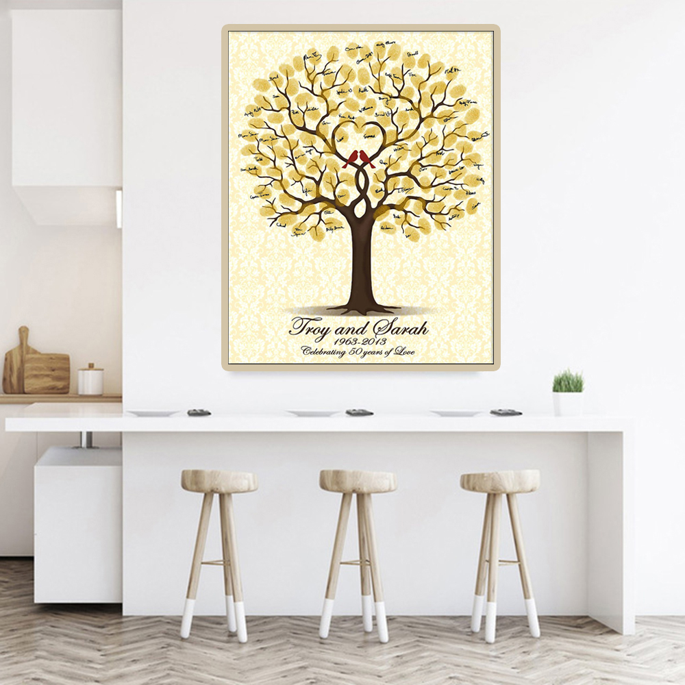 Personalized Wedding Guest Book Baby Shower Fingerprint Tree First Communion Souvenir Signature Guestbook Canvas Painting Poster