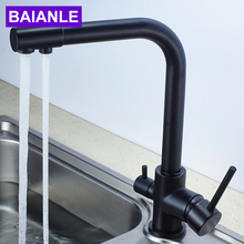 Water Purifier Faucet Black Kitchen Faucet Single Hole Single Mixed  Water Faucet Circular Copper Tap a1002 single ended table style angle faucet pure copper water nozzle laboratory water tap faucet