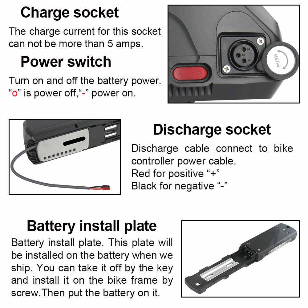 Electric Bike 52V 36V 48V 16Ah 13AH 10AH 15AH 17.5AH 20AH Hailong shark Li-ion Battery for Bafang BBS02 BBSHD Tongsheng Ebike