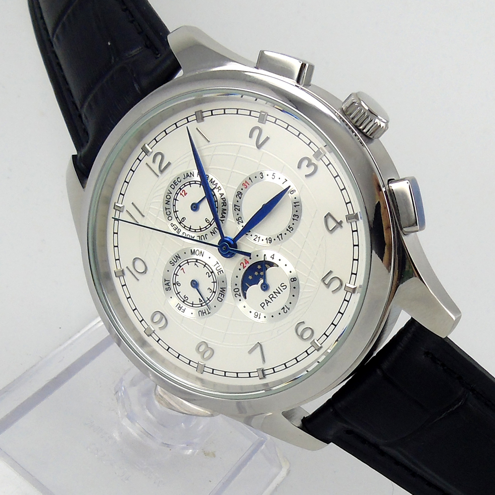 Parnis 44mm white dial Moon Phase Multifunction Automatic movement men s watch