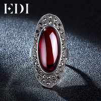 EDI Retro 925 Sterling Silver Personality Black Chalcedony Vintage Red Garnet Large Rings For Women
