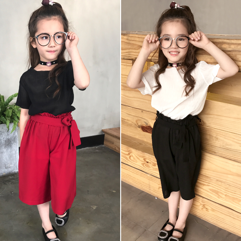 2018 summer 110~160 teens clothes girls clothing set 2 pcs blouse+wide leg pants kids girl clothes set robe fille ida rodich reading at leisure чтение на досуге на английском и русском языках