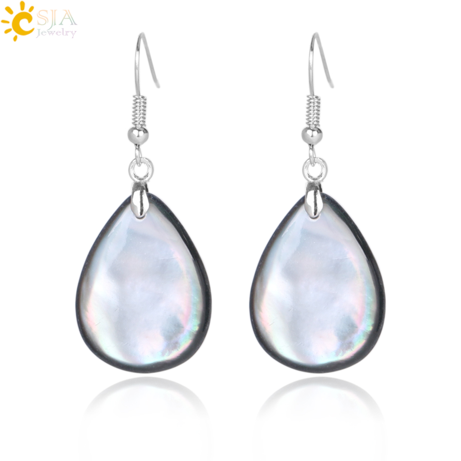 CSJA Vintage Natural Black Shell Water Drop Earrings for Women Mother of Pearl MOP Beads Statement Earrings Jewellery Gifts E843 ...