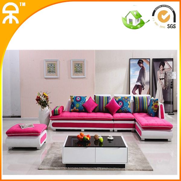 L shape colorful fabric sofa couch for living room furniture A 002