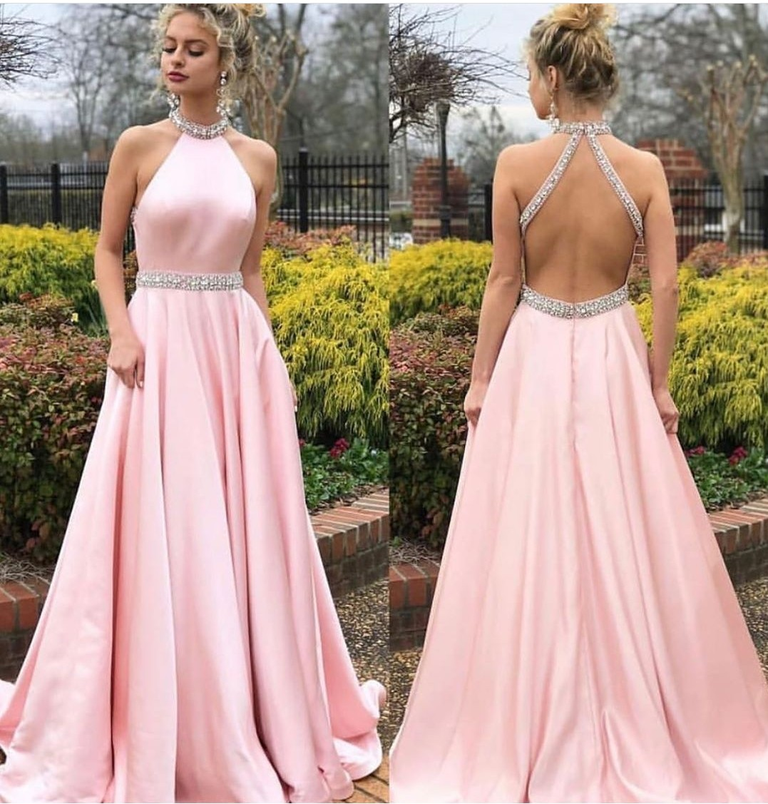 Backless Pink   Prom     Dresses   A-line Satin Evening Gowns 2019 Graduation   Dress   Beaded Sequined Custom Made PT05 Party Formal