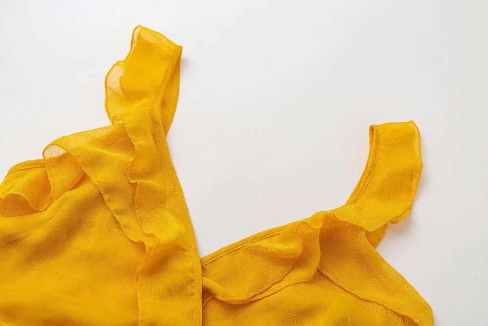 Летнее женское платье с глубоким v-образным вырезом, желтое Сексуальное платье с рюшами и бантом, женское платье, зеленые однотонные повседневные богемные пляжные платья
