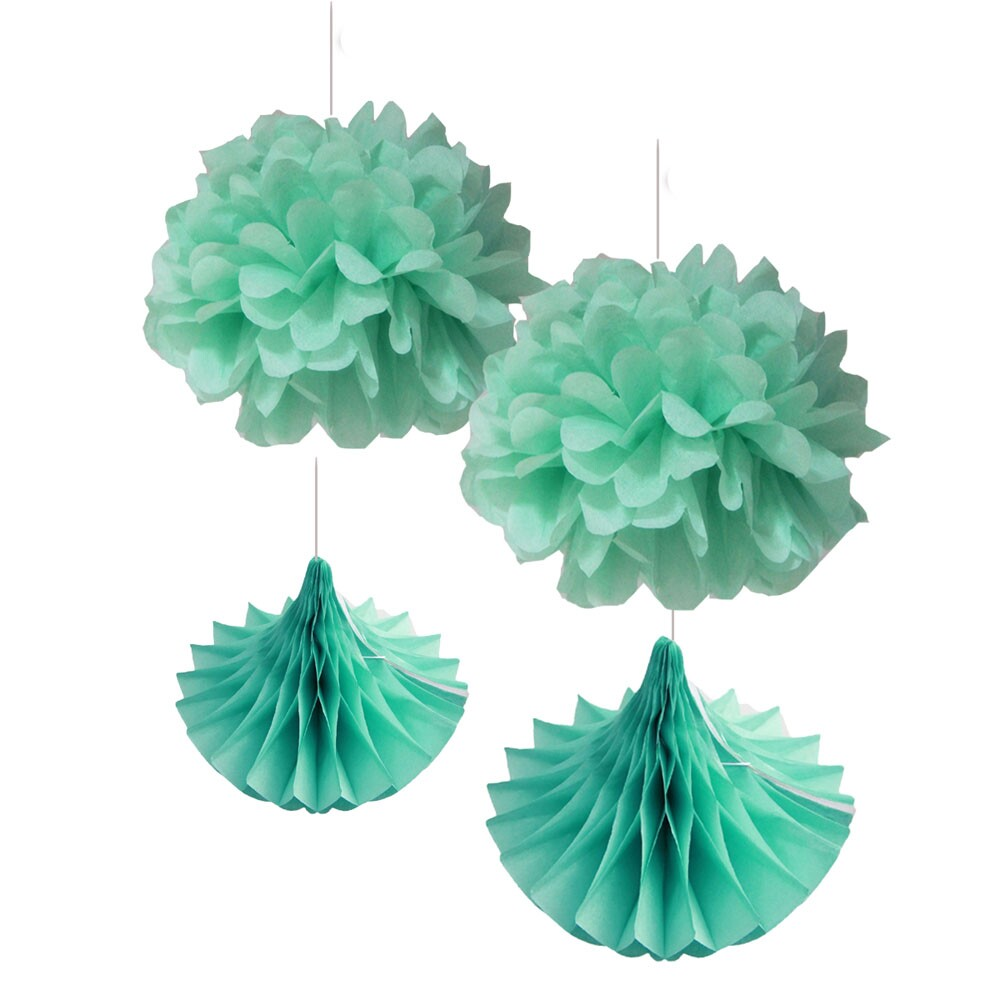 Baby shower wedding buy tissue paper poms tissue paper pom pom kit - 4pcs 20cm Mint Set Tissue Paper Pom Poms Fluffy Flowers Honeycomb Drops Party Wedding Decorations Hanging