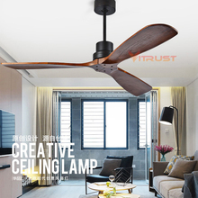 Industrial Vintage Ceiling Fan Without Light Wooden Fans with Remote Control Nordic Simple Home Fining Room