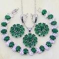 En Forma de flor Verde Esmeralda Creado Topacio Blanco Mujeres 925 Sistemas de La Joyería de La Boda Del Pendiente/Colgante/Collar/pulsera