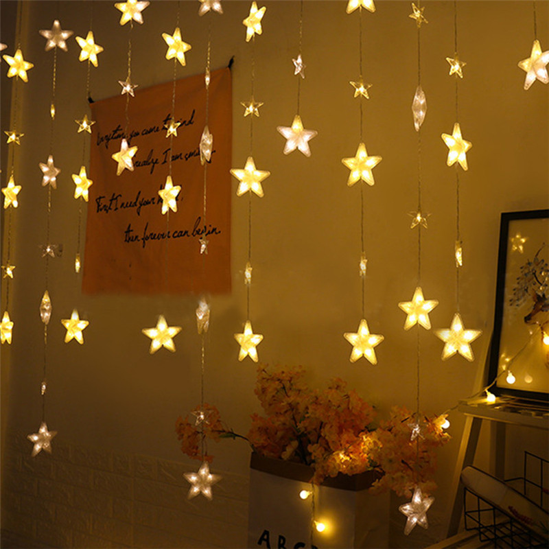 4M 272leds  Window Curtain Lights Full Sky Star  LED String Light 8 Mode Romantic Star Window Wedding Party Christmas Garland