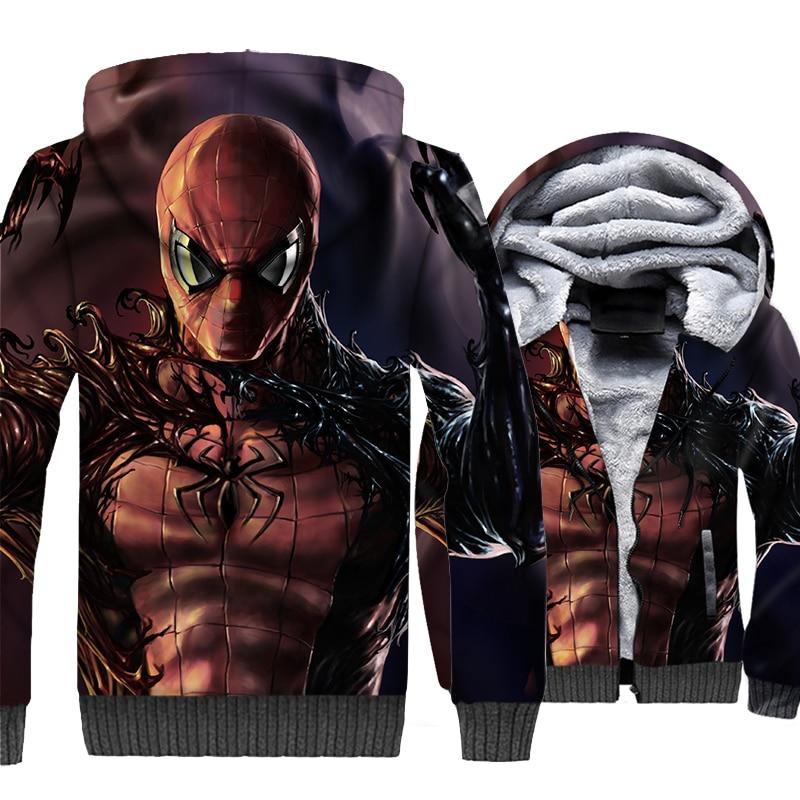 Movie Hooded Venom VS Spiderman 3D Jackets Men 2019 New Winter Sweathisrts Hoodies Thick Men's Tracksuit Hip Hop Streetwear