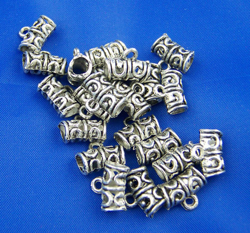 Zinc Metal Alloy Bails Beads Round Antique Silver Pattern Pattern 12mm( 4/8