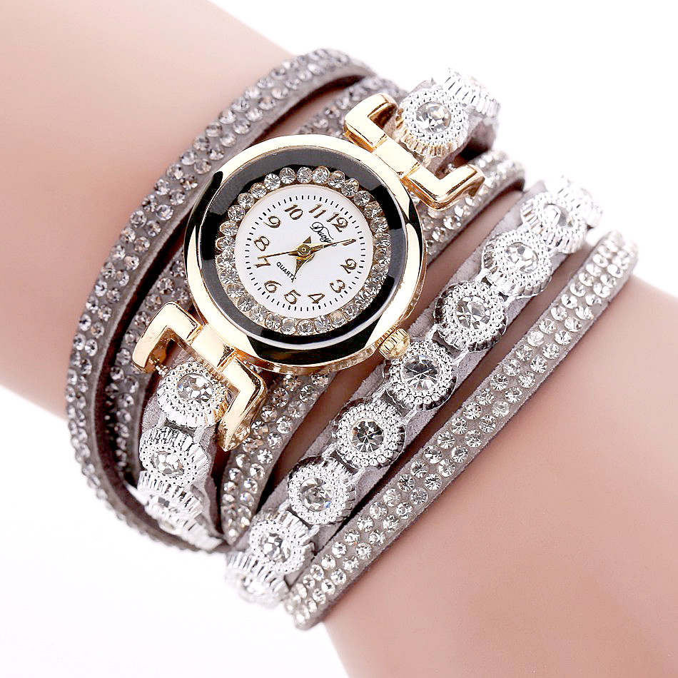 Duoya Brand Women Bracelet Watch 2016 Crystal Round Dial Luxury Wrist Watch For Women Dress Gold Ladies Leather Clock Watch 16