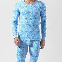 1 Set Winter Men S Cotton Thermal Underwear Pants Flower Deer Printed Long Johns Warm Bodysuit
