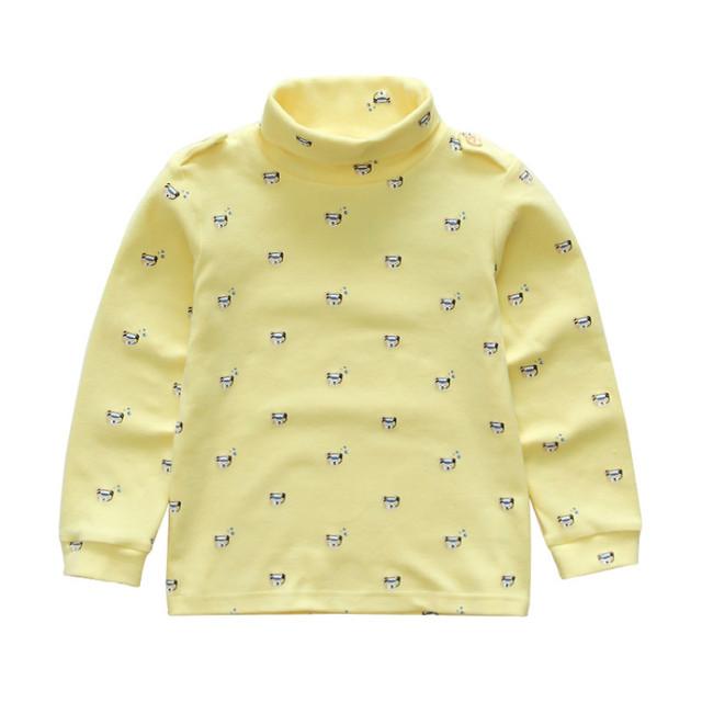 4 Colores de Las Muchachas de Manga Larga de Cuello Alto de Algodón Básica Camisetas camisas de Los Niños Ropa infantil Chicos Tops unisex Ropa de impresión Camiseta