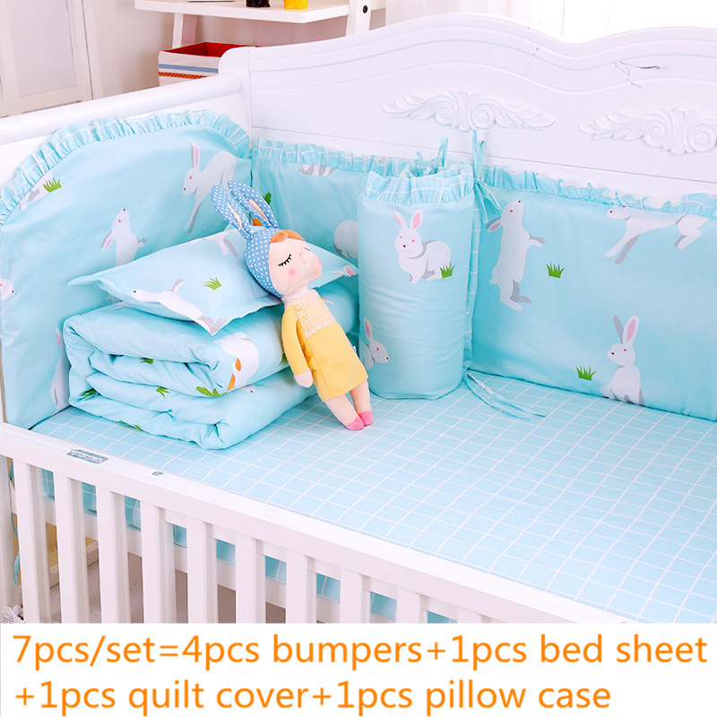 Lace Decor Blue Baby Bedding Set For Infant Newbron 7pcs Baby Crib Bedding Set With Bumpers Quilt Cover Bed Sheet PillowcaseLace Decor Blue Baby Bedding Set For Infant Newbron 7pcs Baby Crib Bedding Set With Bumpers Quilt Cover Bed Sheet Pillowcase