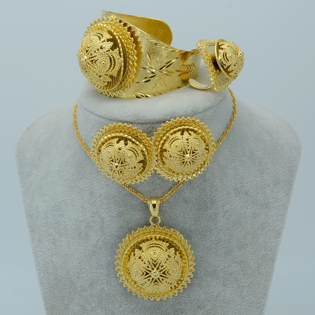NEW Ethiopian Jewelry Sets - Real Gold Plated Habesha Set Ethiopia Wedding Bridal Jewelry Eritrea Nation Accessories #006902