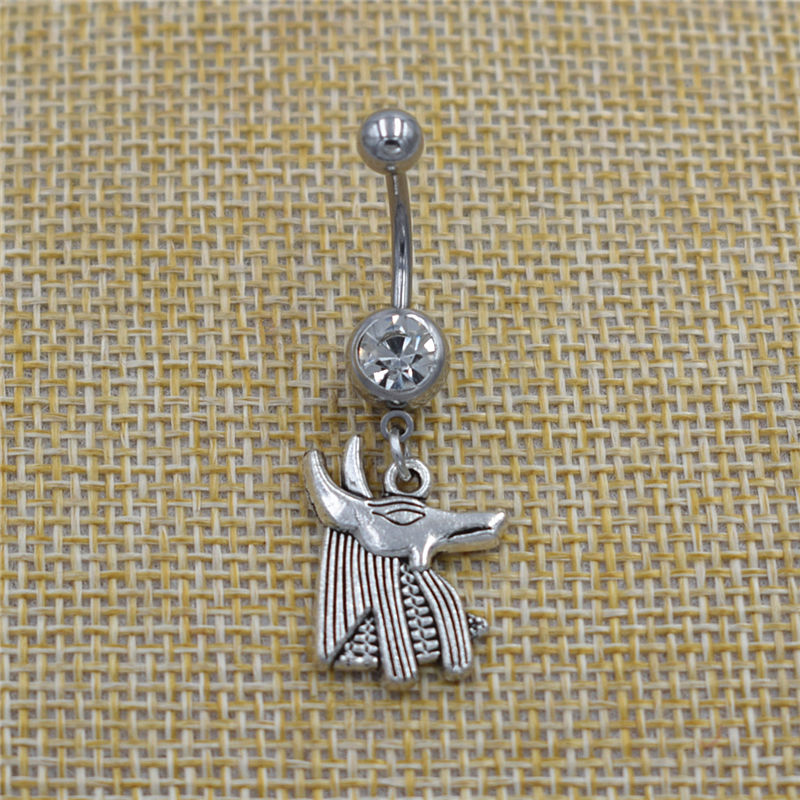 New Ancient Egypt Queen Nefertiti Pendant Anubis Head Dangle Belly