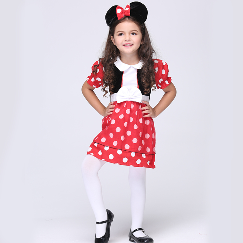 Kids Girls Dot Cute Mouse Anime Cosplay Clothing Children Fantasy Fancy Dress Carnival Party Halloween Costumes For Kids girls boys halloween costumes surgeon sets doctor cosplay stage wear clothing children kids party clothes free drop shipping new