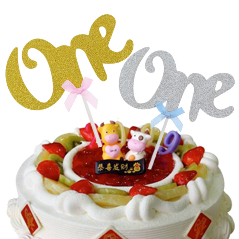 1pc One With Bowtie Cake Toppers Happy Birthday Gold Silver Paper Board Cake Flag Birthday Party Cake Decoration Supplies
