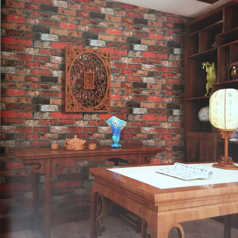 Chinese Vintage 3D Stereoscopic Brick Stone Pattern Wallpaper For Wall Classic Study Room Hotel Background Wall Paper Home Decor