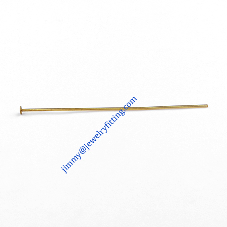 Jewelry Making findings Raw brass metal Head Pins with Round end Scarf Pins jewellry findings 0.6*40mm shipping free