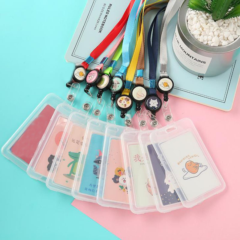 1 Pcs Kawaii Animals Transparent Badge Case Clear Card Holder With Lanyard Bank Credit Card Holders ID Badge Holders Stationery