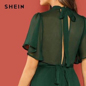 Image 5 - SHEIN Weekend Casual Green Flutter Sleeve Short Sleeve Split Tie Back Solid Stand Collar Dress Women Autumn Elegant Dress