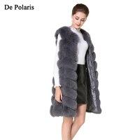 Real Fur Vest fox coat Fox Fur coats women Natural Fox Fur Vest 90CM Womens Real Fox Fur Vest Long Coat Ship by DHL 5 days