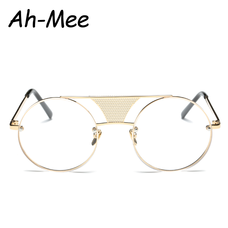 Round Eyeglasses Luxury Brand Steampunk Eyeglass Frame Eyewear Women Clear Lens Glasses Retro Optical Frames