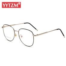 cc1b3fe4a YYTZM Óculos Óculos Frames Eyewear Quadros Mulheres Homens Fina Liga Do  Vintage Ouro Preto Lentes Opticos Mujer Alta Qualidade