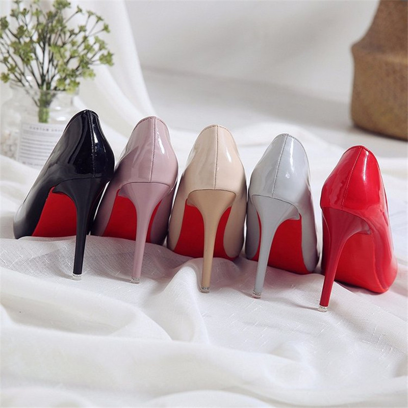 New Fashion High Heels Women Pumps Thin Heel Classic Sexy Prom Wedding Shoes Office Women Shoes Big Size 35-40 Leather