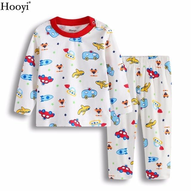 affe8083da Cartoon Baby Pajamas Clothes Suit 100% Cotton Boys Sleepwear Plane Car  Children Sleep Sets Long Sleeve Girls Clothing Set PJ S