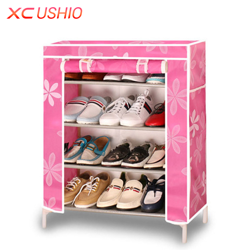 multilayer wooden shoe rack oxford fabric dustproof shoe cabinet storage organizer home furniture diy simple combined