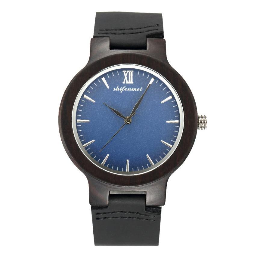 Unique round dial design Couple Fashion Men's Women's Quartz Movement Wood Watch Band Quartz Lovers Watch Lover's Watches