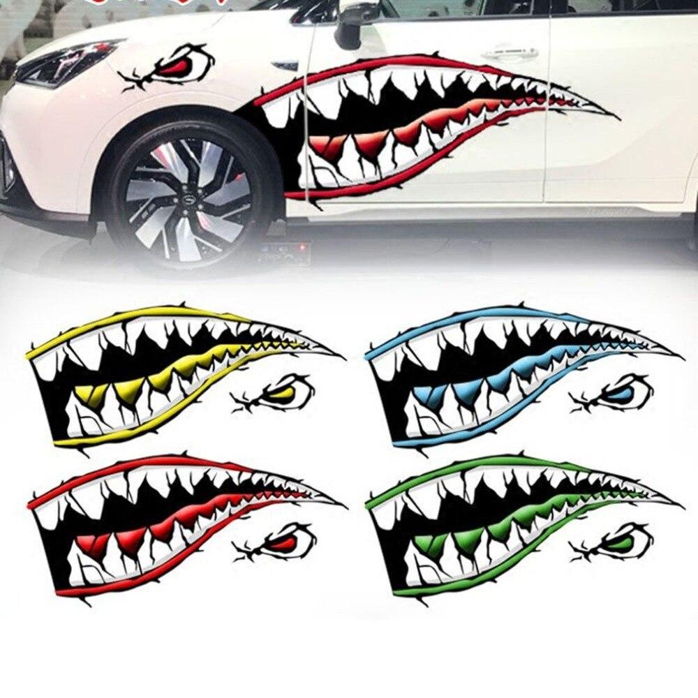 2 pcs/ensemble À La Mode Étanche Requin Dents Bouche PVC Autocollant Stickers pour la Pêche Océan Bateau Canot Canot Accessoire Drop Shipping