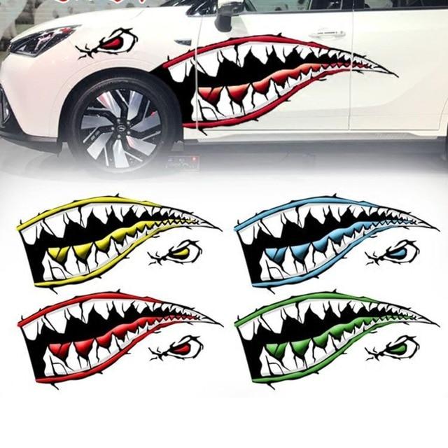 Fanxoo 2pcs/set Waterproof Shark Teeth Mouth PVC Sticker Decals for Fishing Ocean