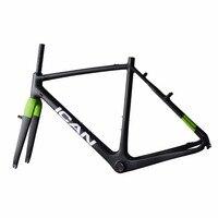 V freio de carbono frames ican cyclocross quadro da bicicleta com tinta verde tamanho 48 50 52 54 56 58 cm em venda