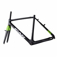 V Brake Carbon Cyclocross Bike Frame With Green Paint Ican Frames Size 48 50 52 54
