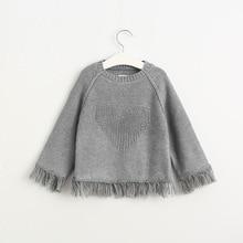 2016 Babies Tassel Heart Sweaters Kids Girls Knit Crochet Pullover Girls Autumn Princess Jumper Tops Children's clothing