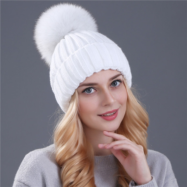 Fox fur ball pom poms winter hat knitted  beanies brand new thick cap 5