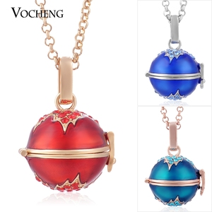 Image 1 - 10pcs/lot Vocheng Angel Locket Colorful Maple Leaf Style Pendant Necklace with Stainless Steel Chain VA 085*10 Free Shipping