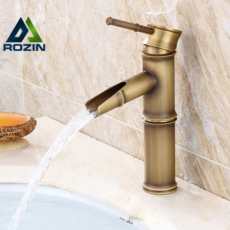 ФОТО High Quality Designer Waterfall Bathroom Sink Basin Mixer Faucets Deck Mounted Bamboo Shape Mixer Taps