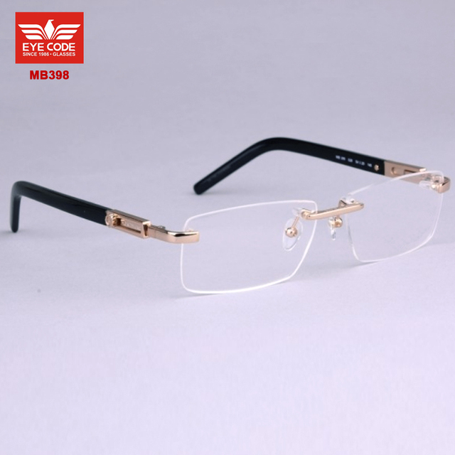 b323aa08d Fashion Eyewear designer brand eyeglasses MB398 rimless glasses frame  reading glasses men prescription myopia optical frames