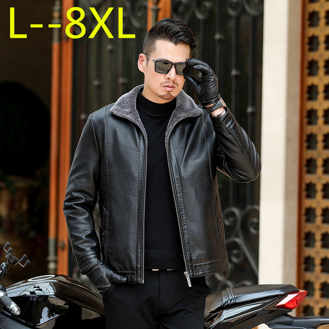 05d298617 US $109.57 5% OFF|plus size 8XL 6XL 5XL 4XL HOT 2018 Winter Men New Leisure  Fashion Removable Cap Sheepskin Fur One Jacket large big size-in Faux ...