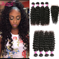 7a Brazilian Curly Hair With Closure Brazilian Virgin Hair With Closure 4 Bundle Deals Deep Curly Weave Human Hair With Closure