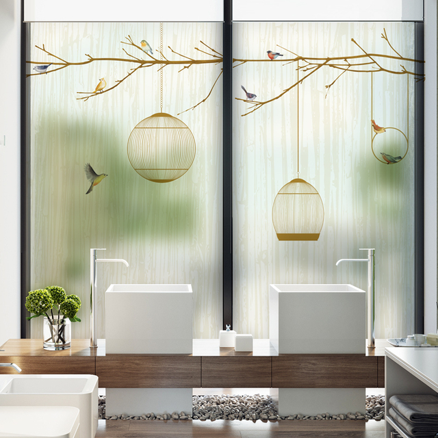 Window stickers balcony windowsill bedroom translucent opaque chinese bathroom living room bathroom self adhesive glass